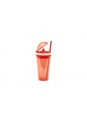Zak!Designs On The Go Citruspers Drinkbeker - Dubbelwandig - Incl. Rietje  50 cl - Rood