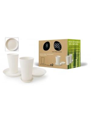 Bamboe Design Koffie-/Theeset van 6 stuks - Wit