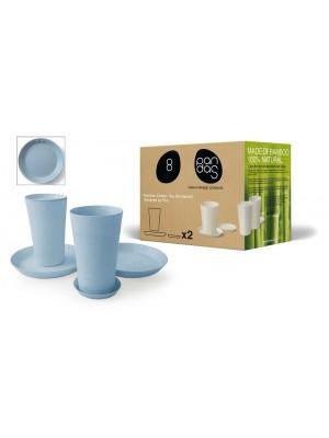 Bamboe Design Koffie-/Theeset van 6 stuks - Licht blauw