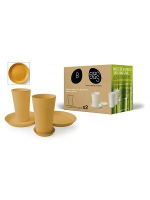 Bamboe Design Koffie-/Theeset van 6 stuks - Indian Curry