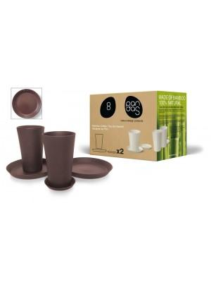 Bamboe Design Koffie-/Theeset van 6 stuks - bruin