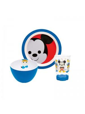Zak! Designs Mickey Big Face Ontbijtset - 3-delig - Blauw