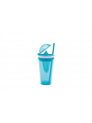 Zak!Designs On The Go Citruspers Drinkbeker - Dubbelwandig - Incl. Rietje  50 cl - Aqua blauw