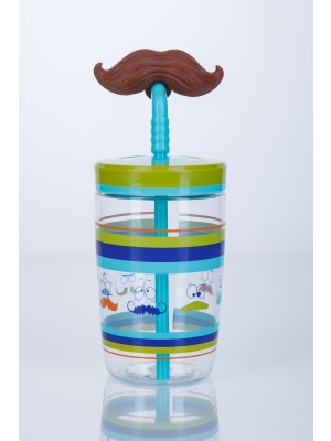 Contigo Drinkbeker Kids Funny Straw - Electric blue Mustache