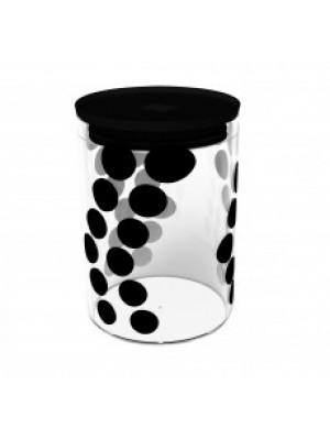 Zak!Designs Dotdot Voorraadpot Glas M 0.90 Liter - Zwart