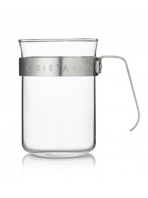 Barista & Co Barista Koffiebeker Glas Set van 2 stuks - eletric Steel