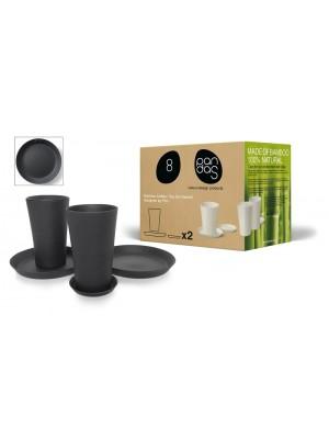 Bamboe Design Koffie-/Theeset van 6 stuks - Zwart