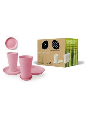 Bamboe Design Koffie-/Theeset van 6 stuks - Roze