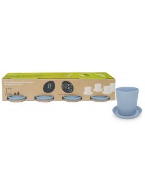 Bamboe Design Espressoset van 8 stuks - Licht blauw