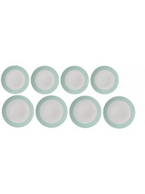 Mepal Plat + ontbijt bord Flow 260 mm en 230 mm set van 4 - Arrow Green